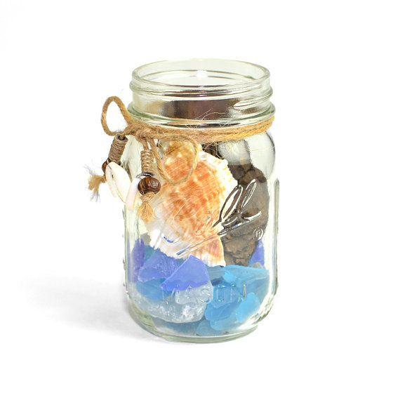 Vintage ball mason jar diy upcycled nautical beach scene