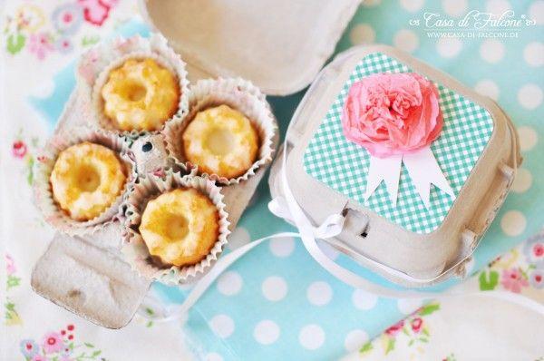 Frühlingshafte Verpackungsidee für Mini Gugelhupf \ DIY für - selbstgemachtes aus der küche