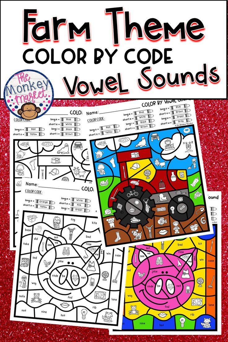 Color By Code Vowel Sounds Farm Vowel sounds, Farm
