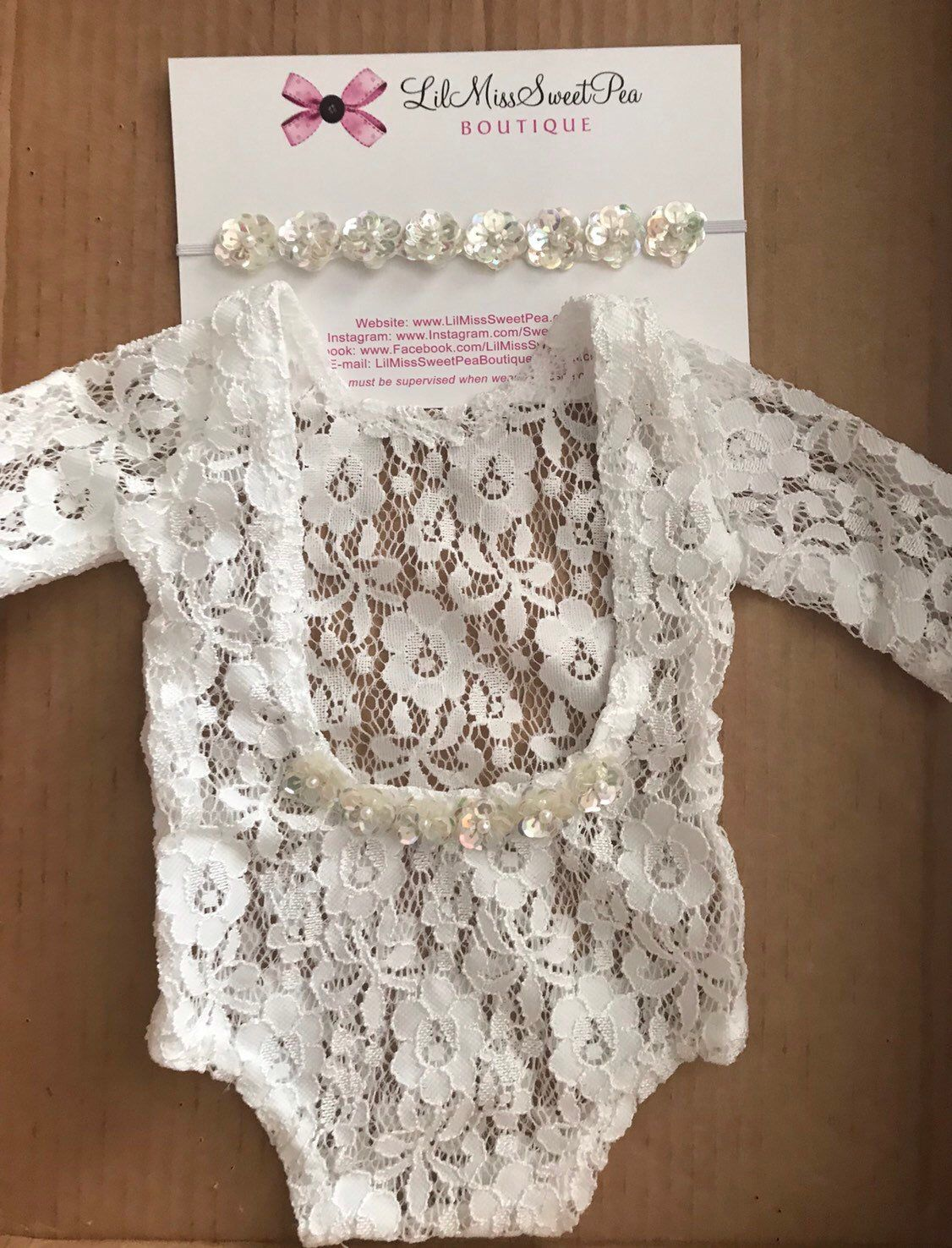 a67e0c610f7 Excited to share this item from my  etsy shop  Newborn Lace Romper with  Sequin Trim AND OR sequin flower headband by Lil Miss Sweet Pea