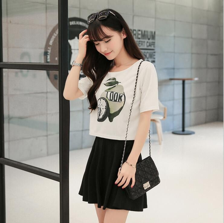 Fashion Short Sleeve Shirt Bubble Skirt Two-Piece