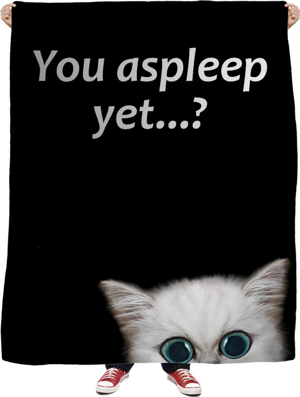 Cat Stalker Fleece Throw Blanket You Asleep Yet Naughty White Kitten Funny Cat Fleece Throw Blanket Fleece Throw White Kittens
