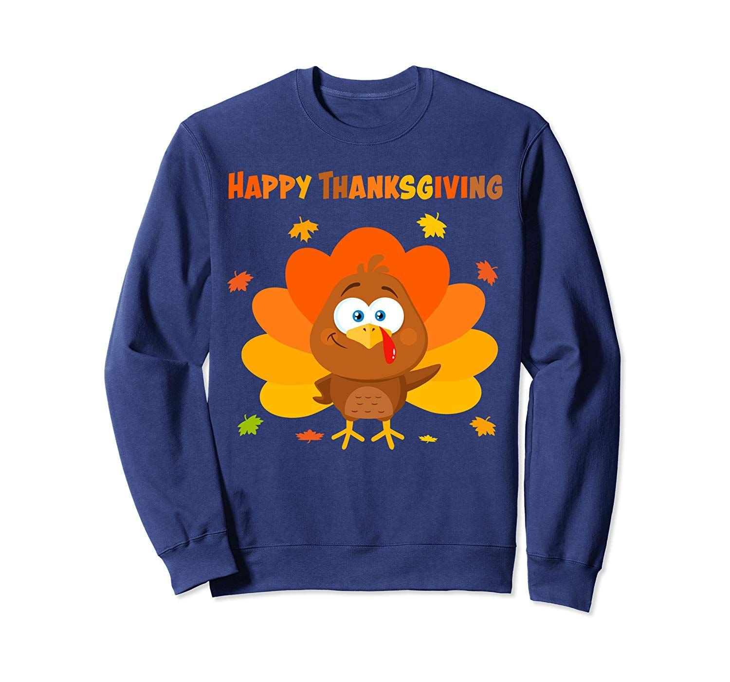 Cute Happy Turkey Thankful Thanksgiving Day Hello Fall Tee Sweatshirt #hellofall