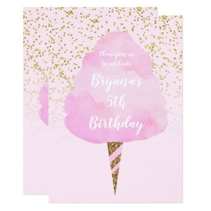 Pink cotton candy gold confetti birthday party card birthday pink cotton candy gold confetti birthday party card birthday invitations diy customize personalize card filmwisefo Gallery