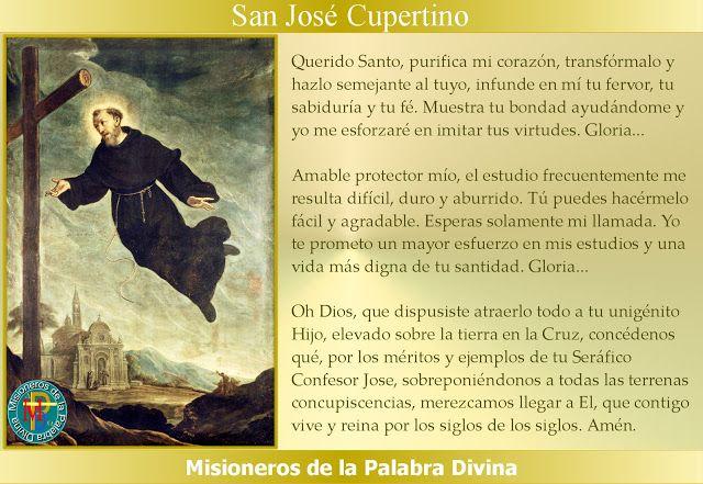 MISIONEROS DE LA PALABRA DIVINA: SANTORAL - SAN JOSÉ DE CUPERTINO