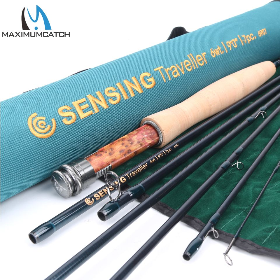 Maximumcatch Fly Fishing Rod 9ft 6wt 7pcs Sensing Traveller Half Well Fast Action Carbon Fiber Fly Rod With Cordura Tube Fly Fishing Rods Fly Rods Travel Rod