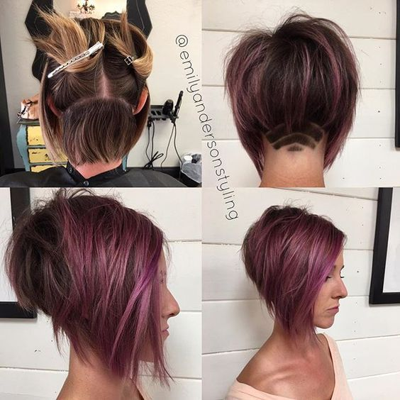 Inverted Bob Cut Shaved Under Purple Lotus Recherche Google Hare