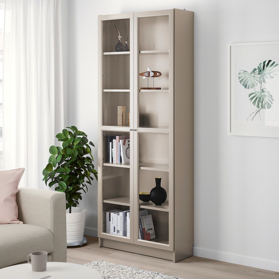 Billy Bookcase With Glass Doors Gray Metallic Effect 31 1 2x11 3 4x79 1 2 Ikea