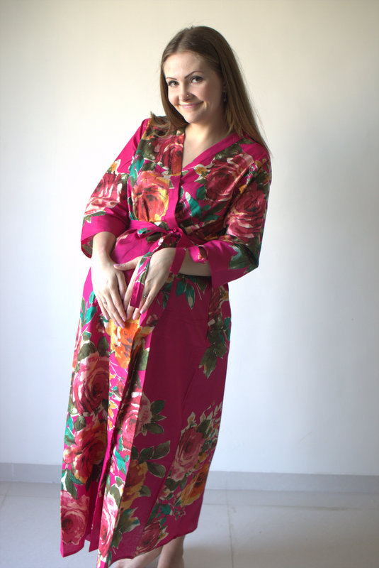 Magenta Large Floral Ankle Length Maternity Robe Hospital Gown Labor