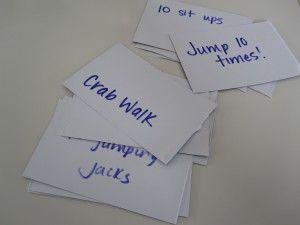 """tira um cartão e faz o """"exercício"""" proposto- andar como o caranguejo, dar 5 saltos... Rainy Day Fun"""