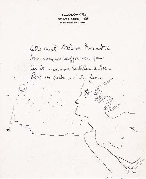 Cocteau Jean Poeme Autographe 4 Vers Ecrit A Noel 1939 Avec Un