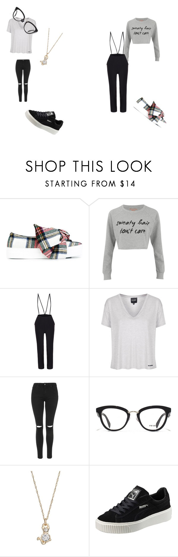 """""""Sweaty hair don't care"""" by meawmeawgirl ❤ liked on Polyvore featuring Joshua's, MINKPINK, Topshop, Prada, LC Lauren Conrad and Puma"""
