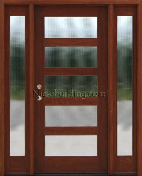 Reeded Glass In A Five Panel Glass Front Door Entrance