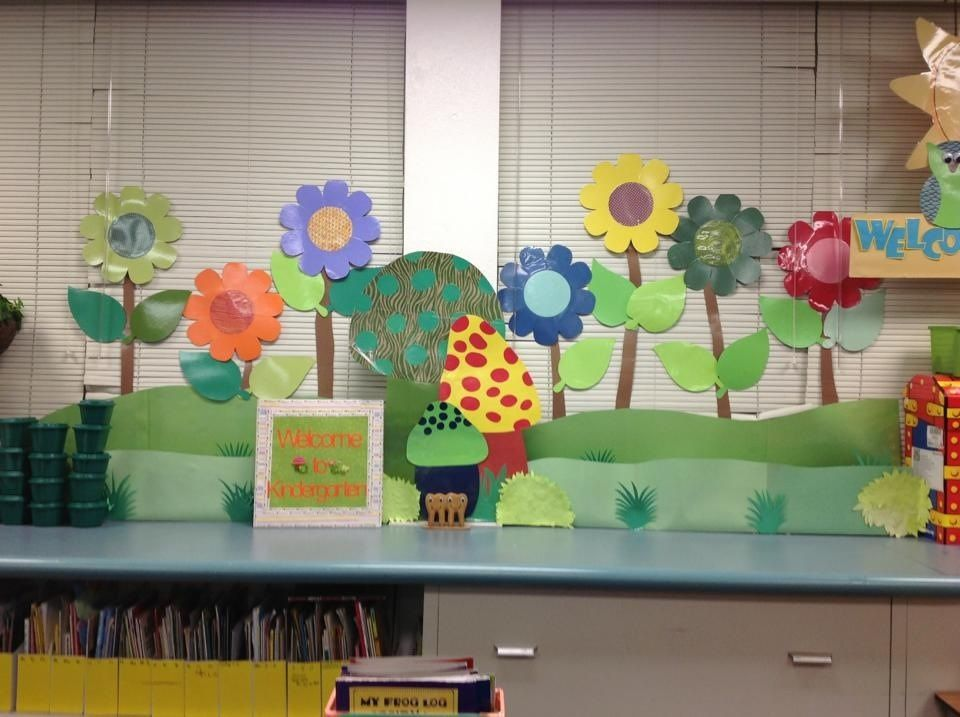Art Decoration Ideas For Classroom ~ Big flowers garden theme classroom decor kindergarten