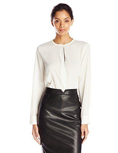 26172aea189f2 Calvin Klein Women s Long Sleeve Top with Metallic Trim