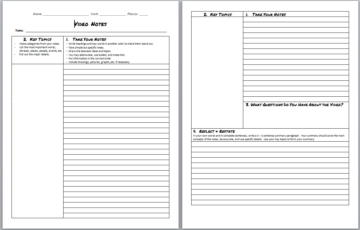 Video Note Taking Worksheet Template Doc