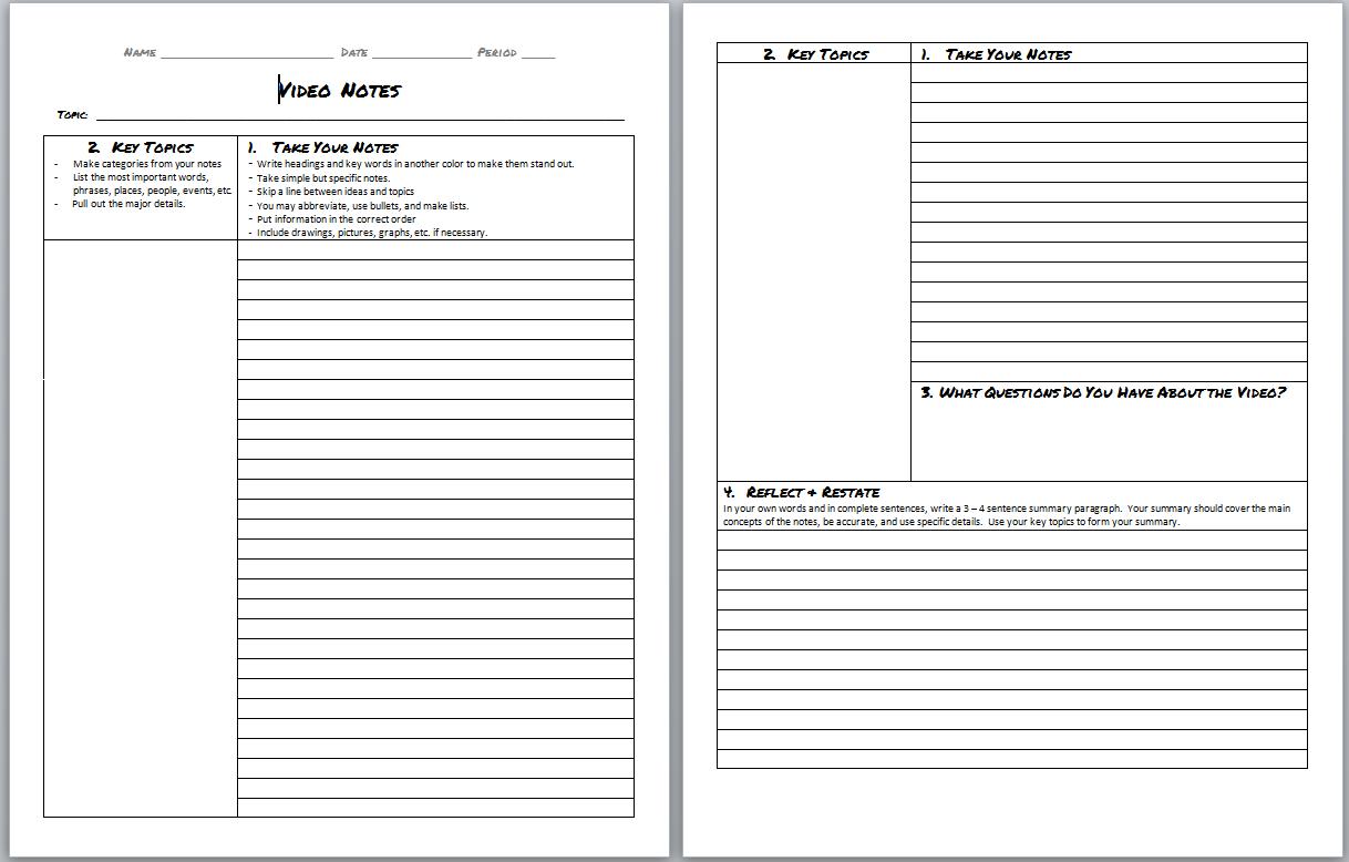 Avid Cornell Notes Template Word Doc  Invitation Templates