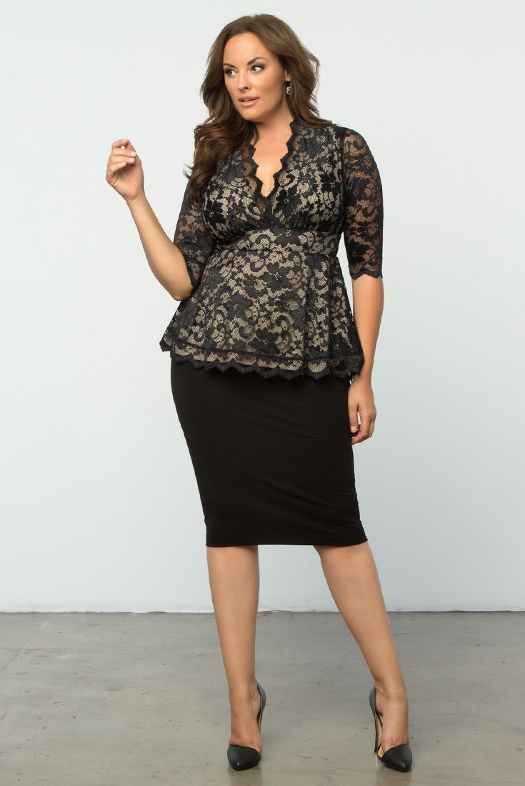 Our Plus Size Linden Lace Top Goes Great With A Pair Of Pants Or A Skirt Add Some Heels An Plus Size Dressy Tops Perfect Little Black Dress Stretch Lace Dress