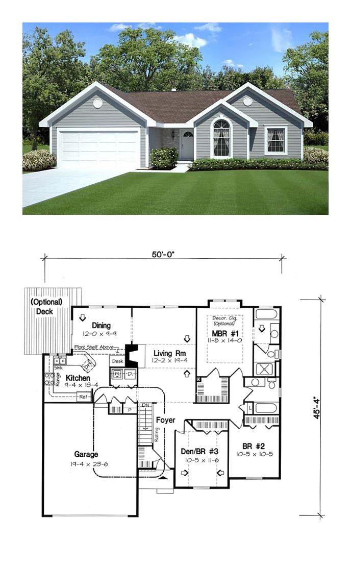 Traditional Style House Plan Bed Bath Car Garage Ranch Plans Dream