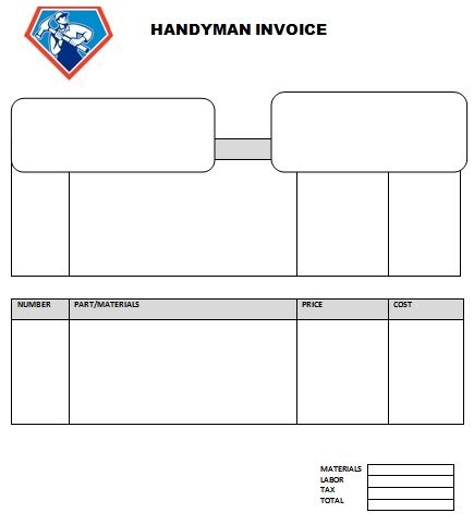 Handyman Blank Invoice Templates Invoice Template Invoice Template Word Invoice Layout
