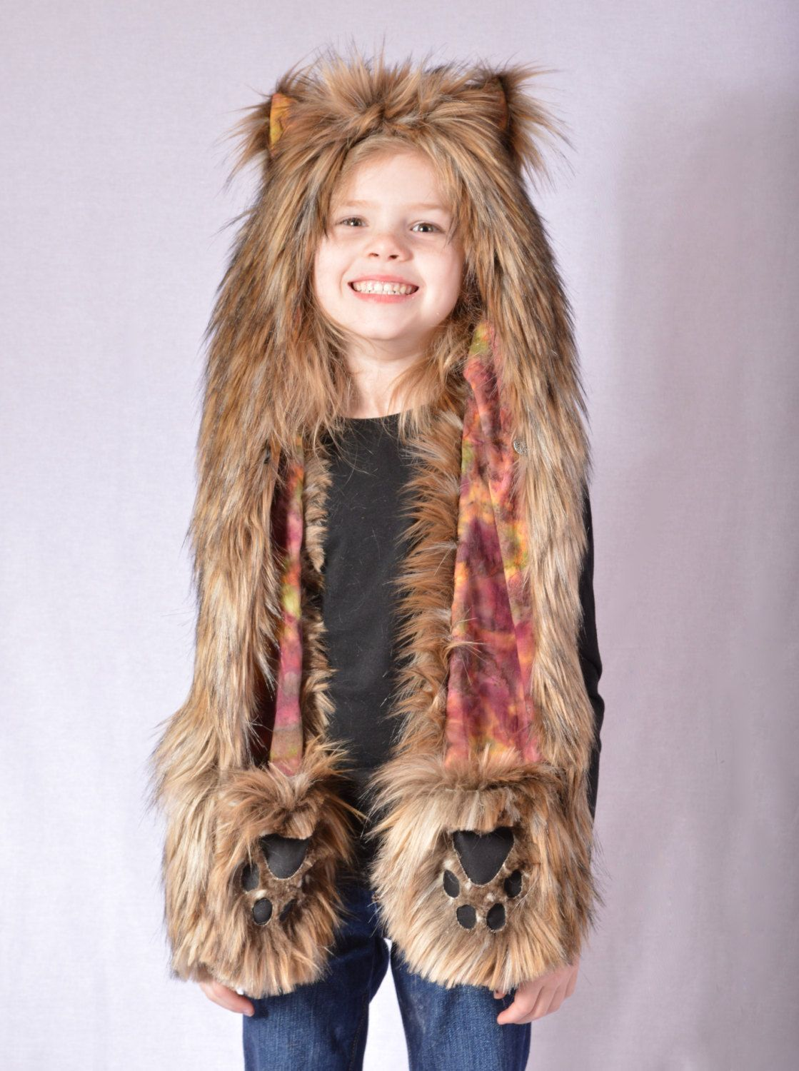4d03c7564ab9a Childrens Coyote Faux Fur Animal Hat with Scarf and Paw Mittens by  wompawear on Etsy https