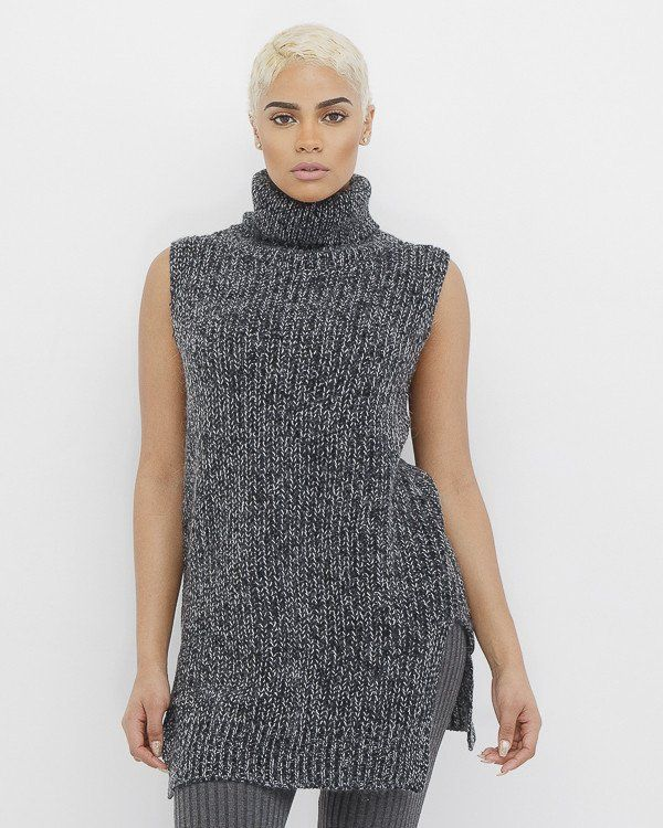 5b67cf46ae0 AGNES Sleeveless Oversized Turtleneck Sweater at FLYJANE