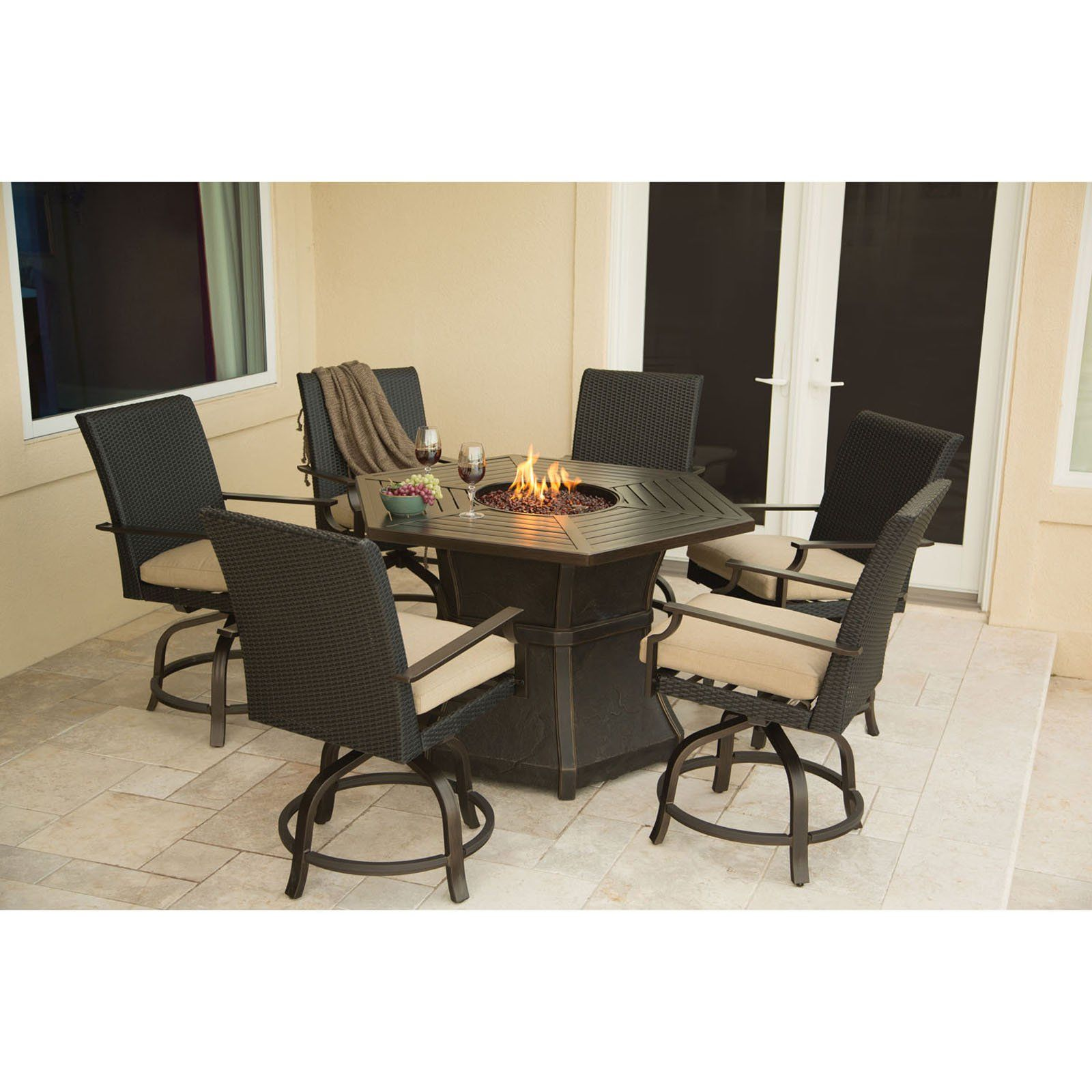 Hanover Aspen Creek Bar Height Fire Pit Dining Set | from hayneedle ...