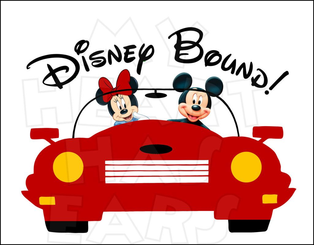Disney bound mickey and minnie mouse in car instant download digital clip art diy iron on transfer my heart has ears