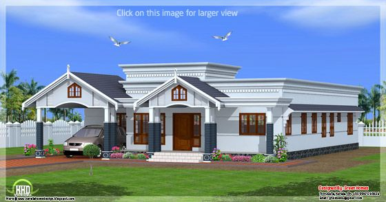 4 Bedroom Single Floor Kerala House Plan Kerala House Design Bungalow House Design One Bedroom House Plans