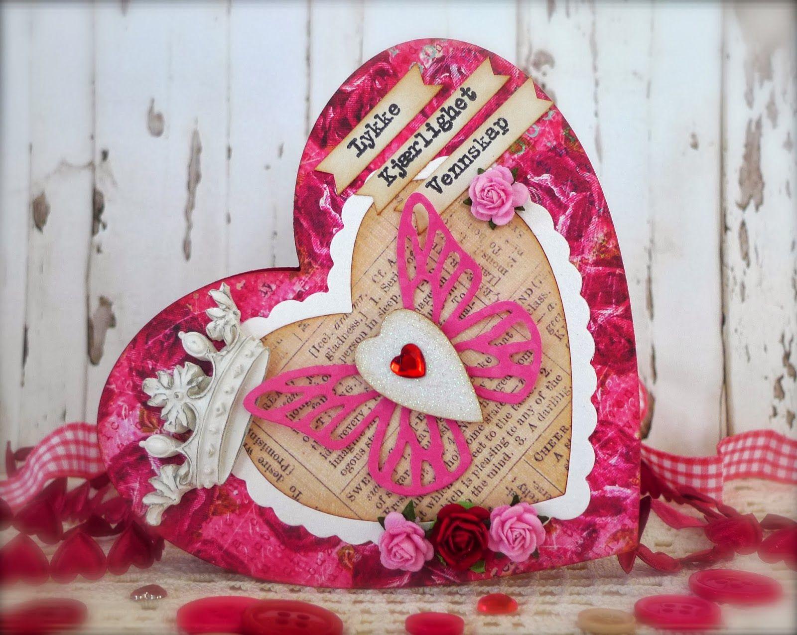 Synnøves Papirverksted: Pink Valentine card
