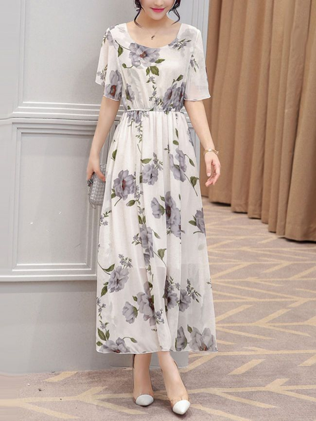 3441ac12ebfe7 Chic Round Neck Floral Printed Chiffon Maxi Dress ...