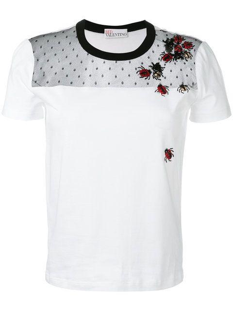 Shop Red Valentino embroidered ladybug T-shirt. | Shirt ...