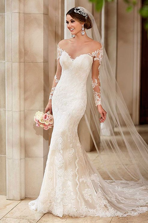 This stella york wedding dress features romantic illusion lace this stella york wedding dress features romantic illusion lace sleeves a glamorous chapel train junglespirit Images