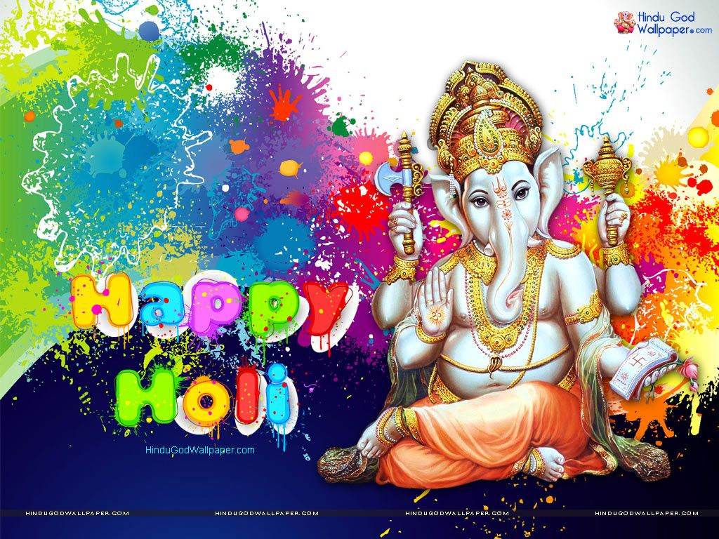 Lord Ganesha Holi Wallpaper Free Download