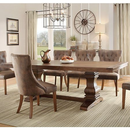 Rustic Oak Double Pedestal Trestle Dining Table With Images