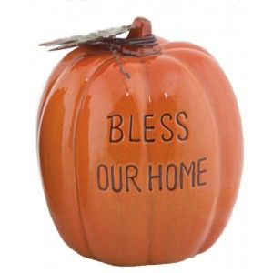 """This ceramic pumpkin makes for a festive addition to your home decor during the fall season. It reads """"Bless Our Home"""". #fall #decor"""