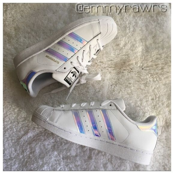 new concept a1b9b ccfe0 Adidas Superstars Metallic Iridescent Stripes New adidas superstars girls  grade school trainers in iridescent stripes. Colors are whitewhite metallic.