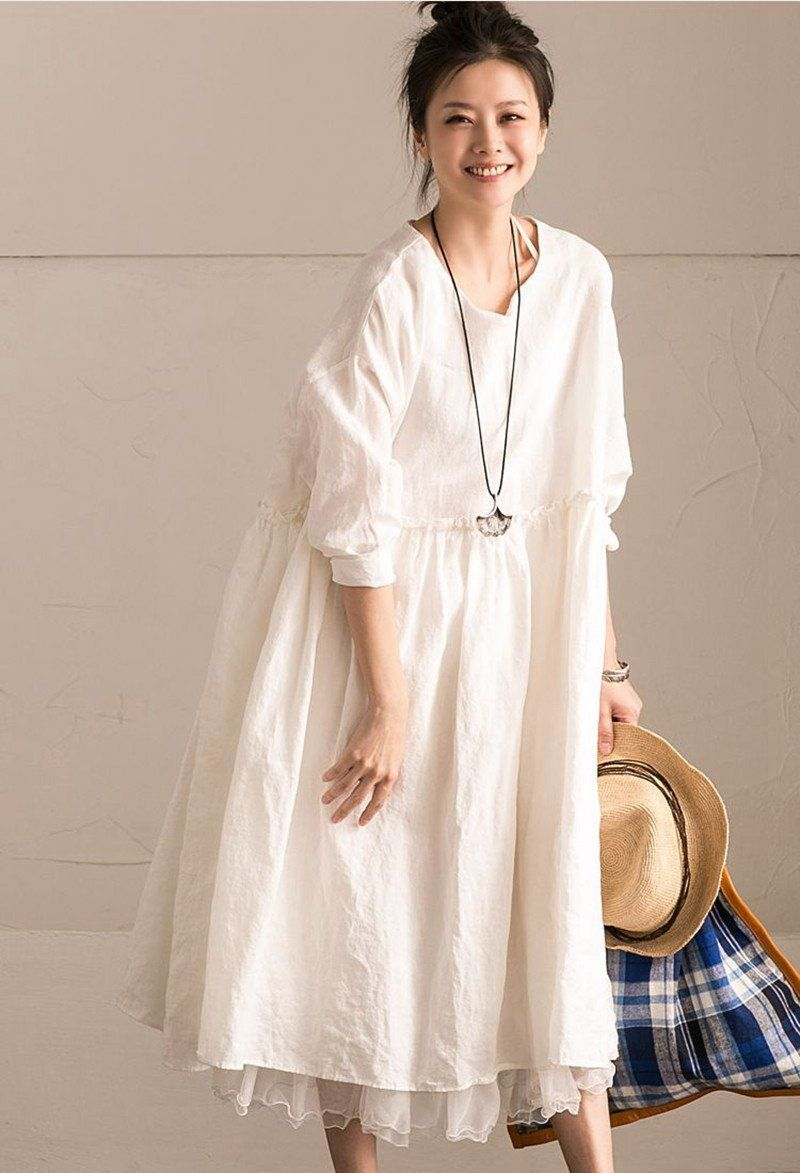 9705f930a655b White Linen Summer Casual Plus Size Dresses For Women | FantasyLinen ...