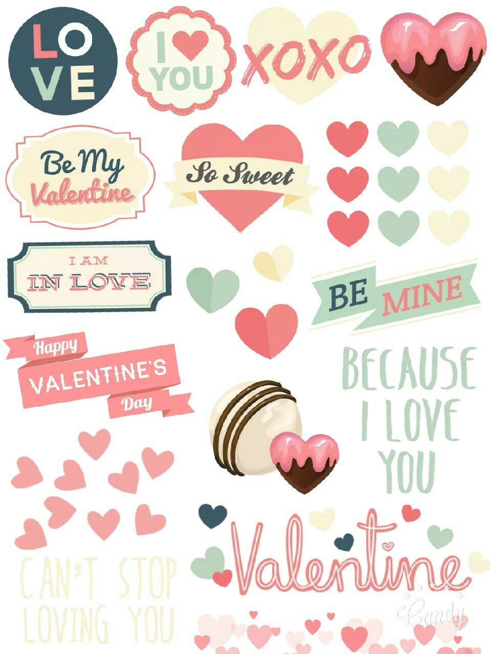 photograph about Valentine Stickers Printable called Pastel Valentine - Sticker Printable #Valentineday#take pleasure in