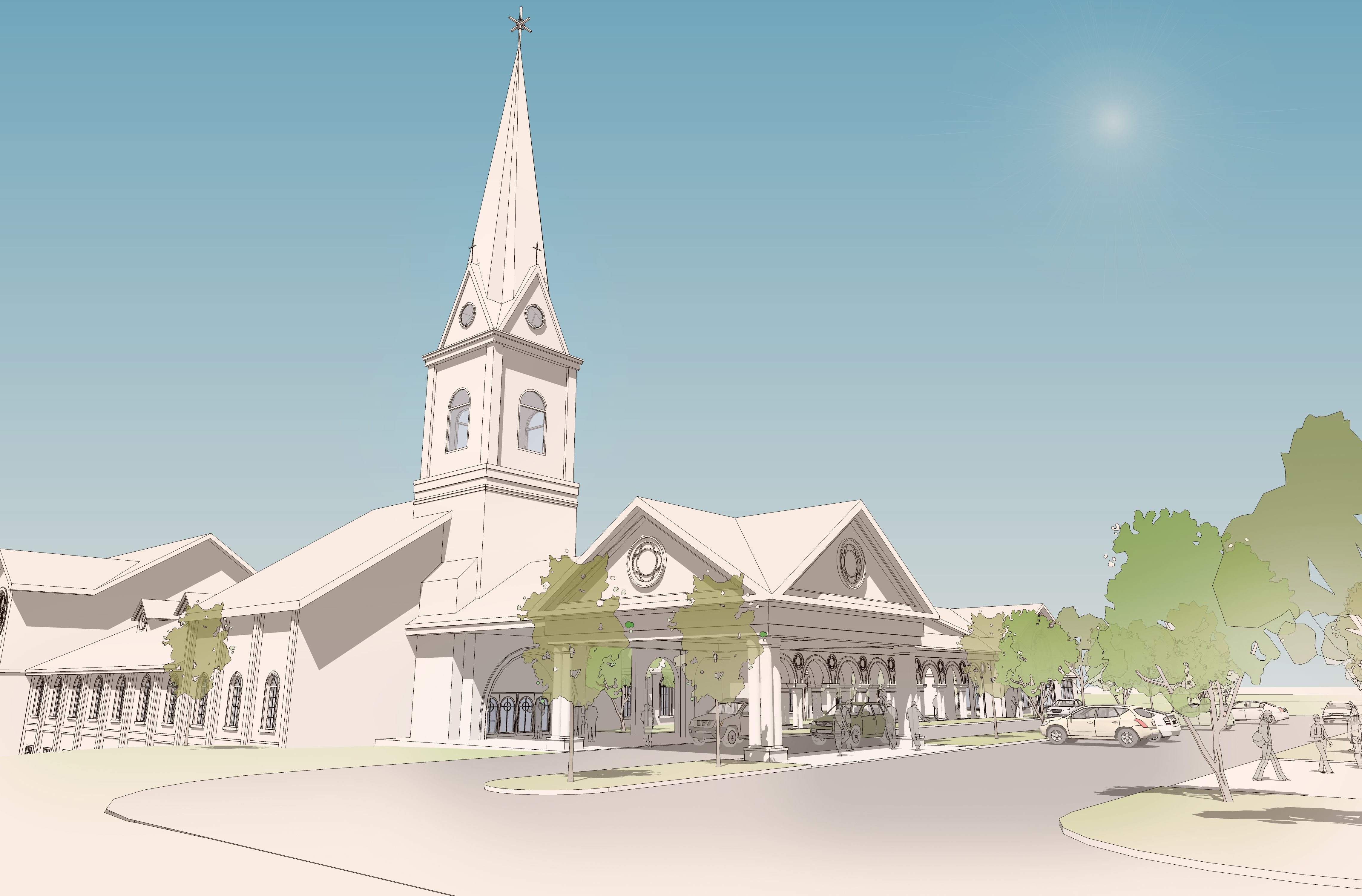 This Is A Traditional Church Concept That Features A Covered Vehicular Drop Off Canopy For Two Cars Wide Small Porches Porch Design Small Front Porches Designs