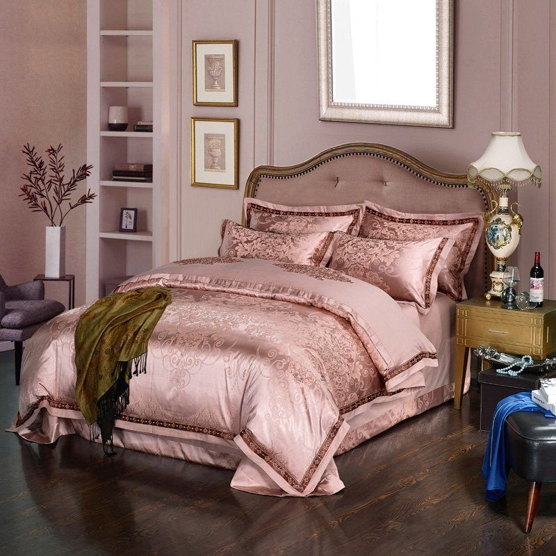 Fancy Rose Gold Victorian Gothic Style Indian Inspired Sophisticated Embroidered Satin Full Queen Size Bedding Bedding Sets Rose Gold Bed Rose Gold Bedroom