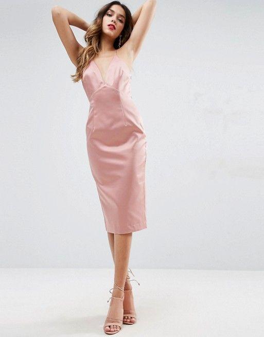 62a4b0d161c8c Lace Insert Cami Midi Pencil Dress