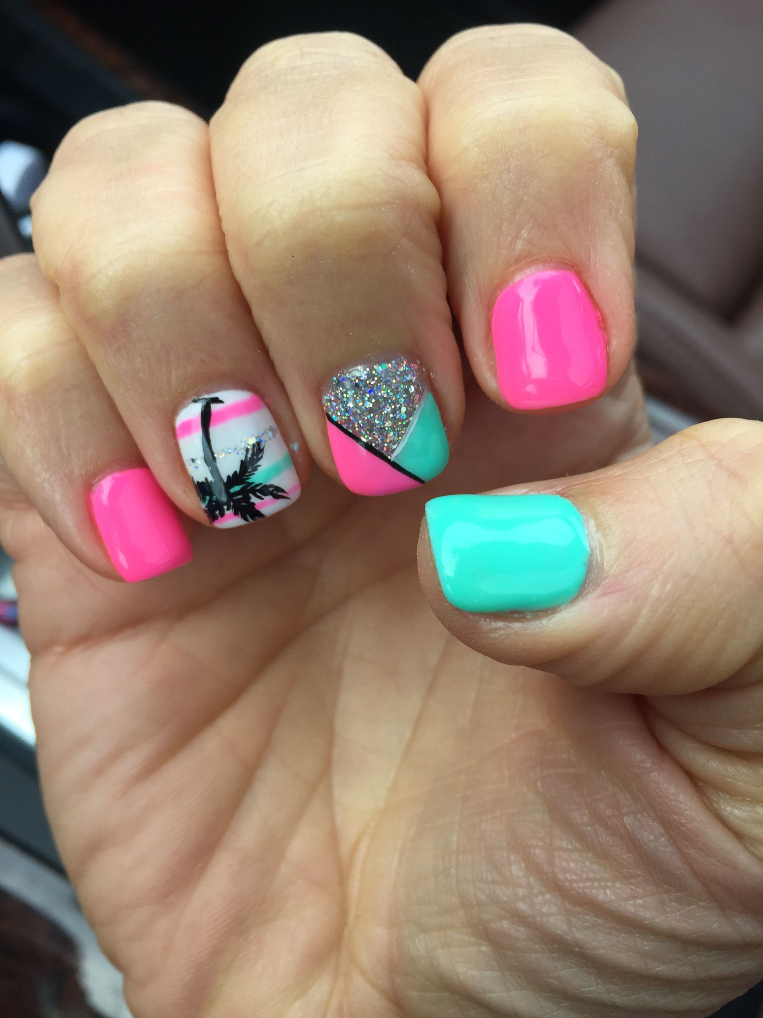 Tropical Vacation Nails Pink Teal Palm Tree Gel Shellac Mani Beach Nail Design