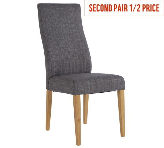 Buy Collection Pair Of High Back Curved Dining Chairs Grey At