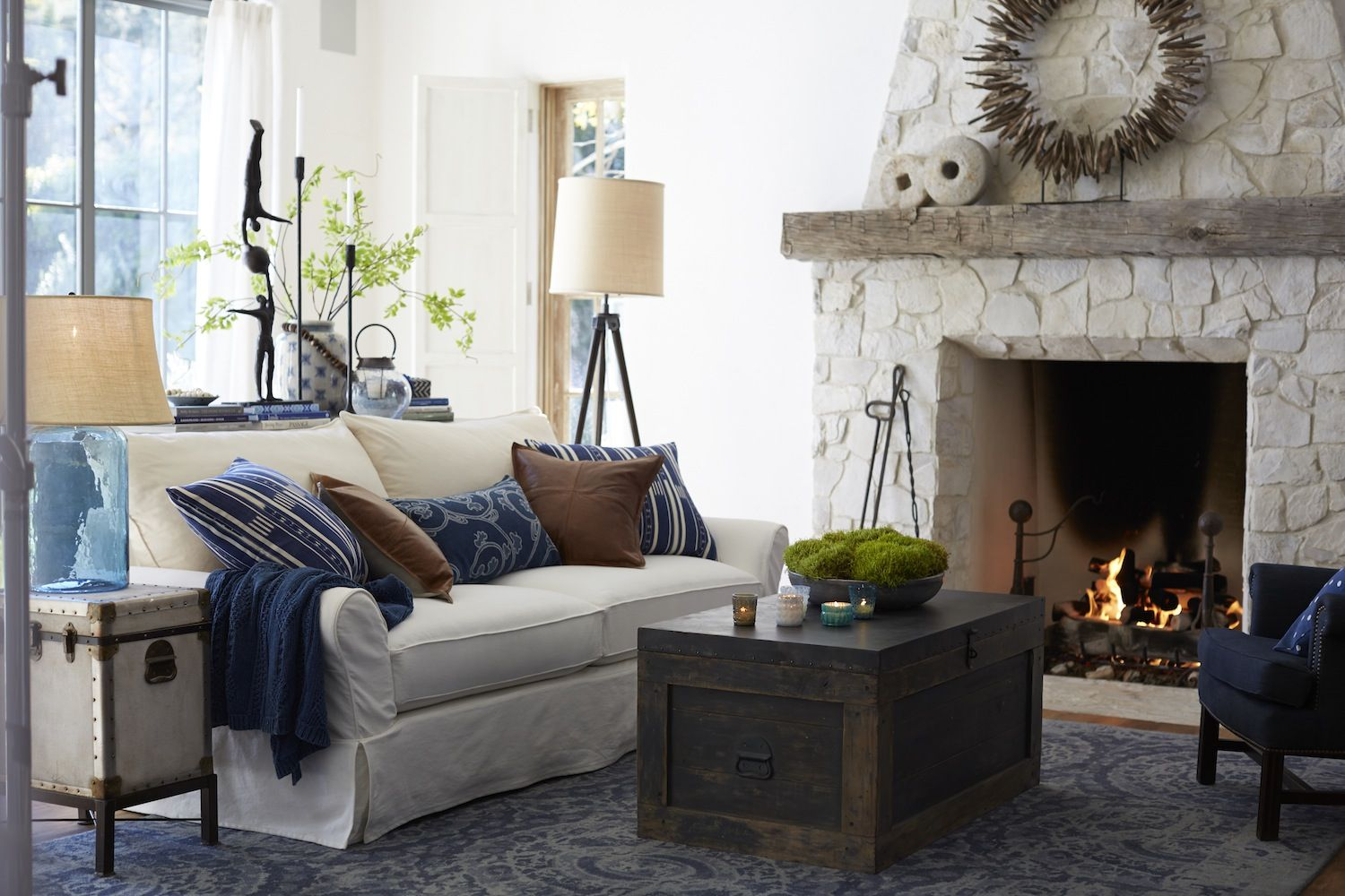 charming pottery barn style living room decor ideas   Decoration, White Wall Color Pottery Barn Living Room ...
