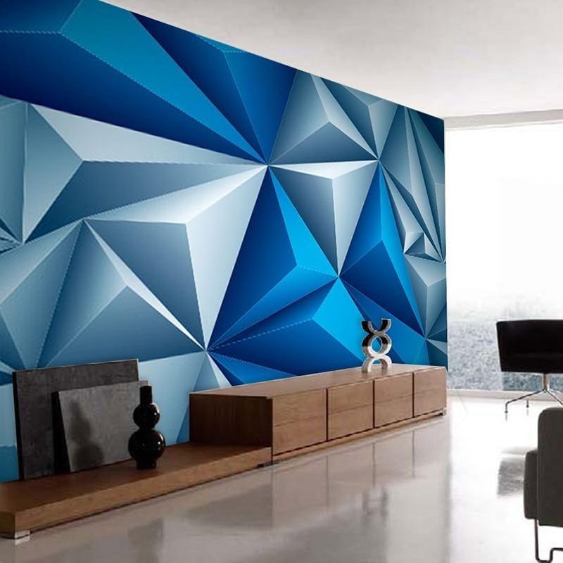 Modern Geometric Space Blue 3D Mural Wallpaper - Default Title