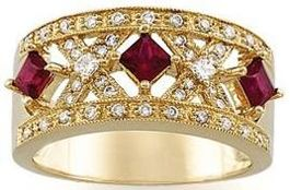 #Jewelry #Rings  Genuine Ruby & Diamond Anniversary Band 14K Yellow Gold