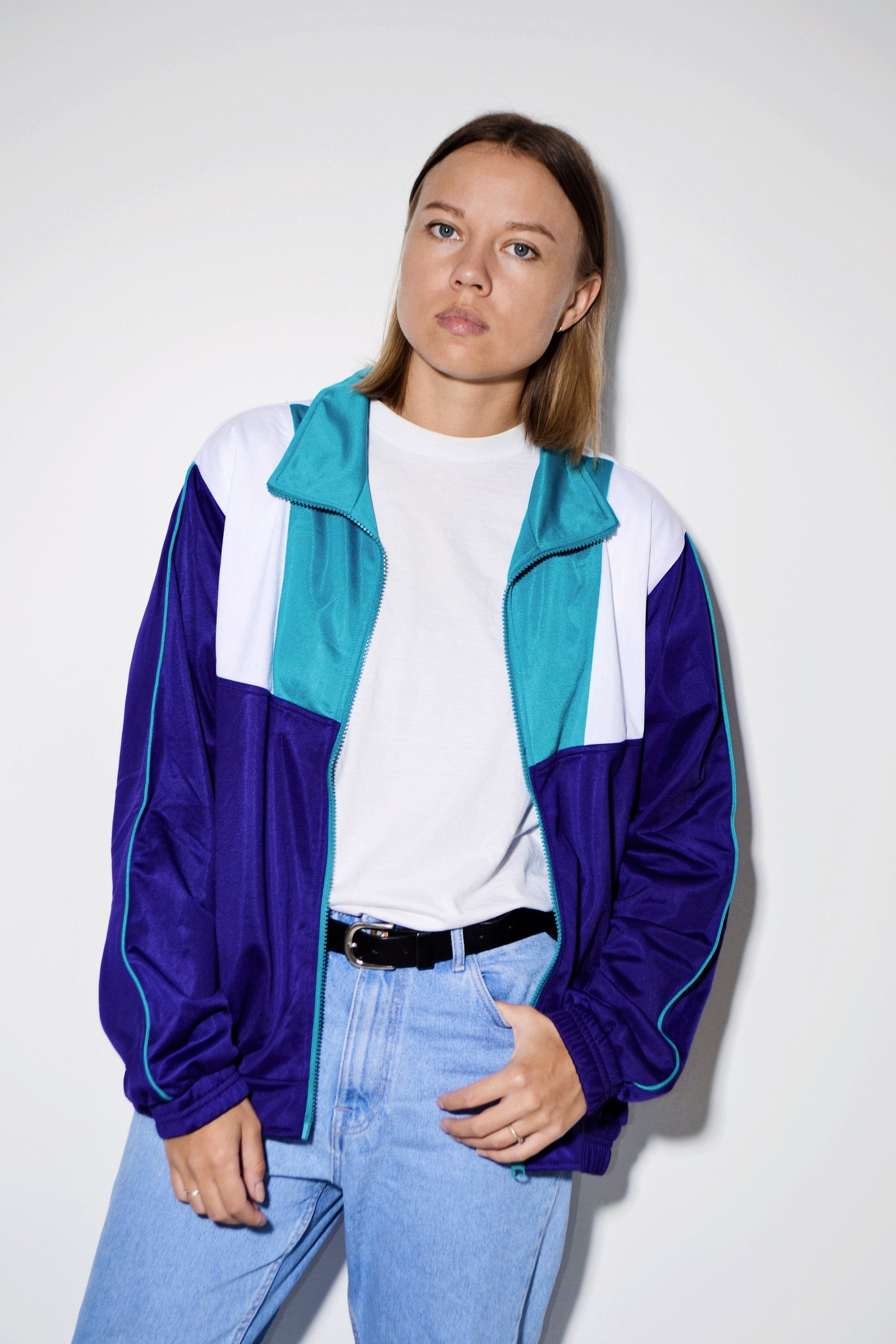 90s Retro Color Blocking Sports Jacket Multi Crazy Tracksuit Top Vintage Track Jacket Unisex Size Medium Mens Large Womens In 2020 Tracksuit Tops Online Shopping Clothes Track Jackets