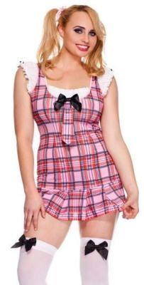 plus size costume, pink, plaid, school girl, schoolgirl, tie, knee ...