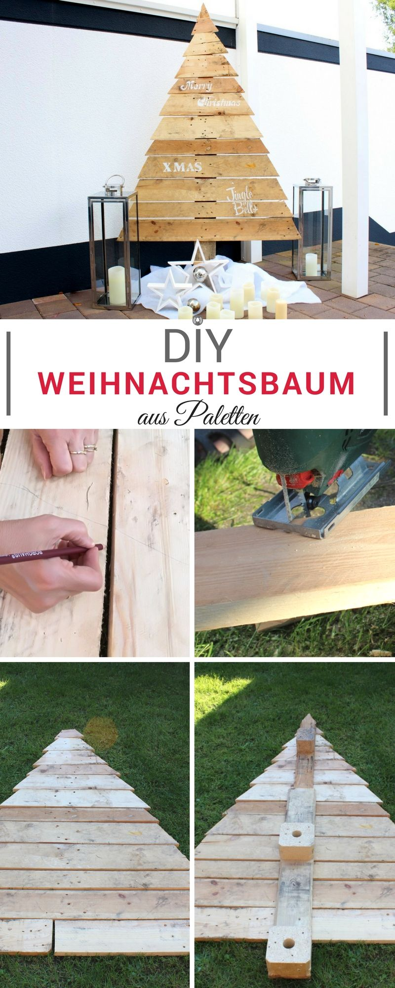 diy cooler weihnachtsbaum aus paletten f r drau en und drinnen christmas idea decoration. Black Bedroom Furniture Sets. Home Design Ideas